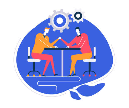 Business competition - flat design style colorful illustration on white background. Bright composition with male characters, businessmen competing in arm wrestling at the table. Leadership concept Stock Illustratie