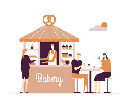 Bakery - modern vector flat design style illustration on white background. High quality composition with a male worker selling cakes and bread in the stand, a couple eating cupcakes at the table