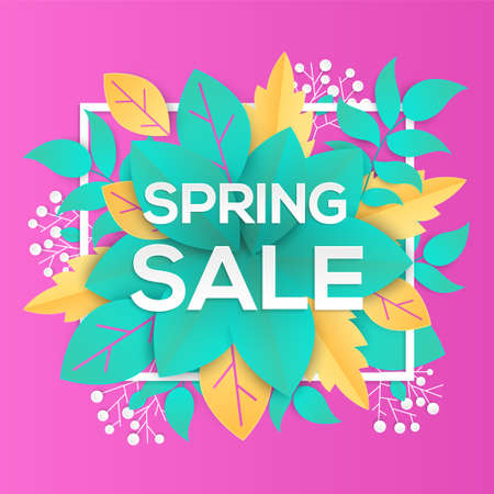 Spring sale - modern vector colorful illustration on pink background. High quality composition with lovely paper cut leaves and currant berries. Perfect as a card, banner. Seasonal discount theme