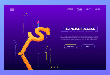 Financial success - modern isometric vector website header on purple background with copy space text. Landing page template with businesswoman, female manager standing on staircase with dollar shape