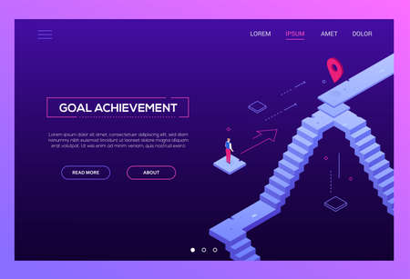 Goal achievement - modern isometric vector website header on purple background with copy space for text. High quality composition with businessman looking at the target, geo tag, image of staircase
