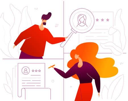 Personalmanagement - bunte Illustration der flachen Designart auf weißem Hintergrund. Hochwertige Zusammensetzung mit männlichen und weiblichen Managern, die den besten Kandidaten auswählen und den Lebenslauf mit der Lupe betrachten