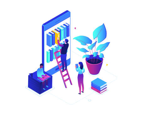 Online reading - modern colorful isometric vector illustration on white background. A composition with cute characters, people taking books from bookshelf on smartphone screen. Mobile library concept Illustration
