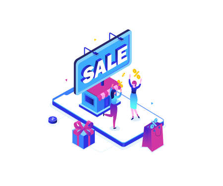 Big sale - modern colorful isometric vector illustration on white background. A composition with happy women, big smartphone with a storefront, percentage signs. Online shopping, special offer concept