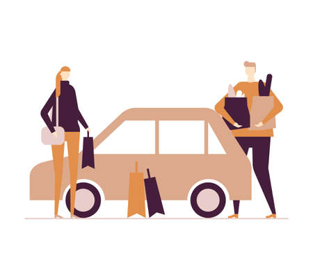 Family after shopping - flat design style colorful illustration on white background. Composition with wife, husband standing at the car with bags full of products. Daily routine, everyday life concept