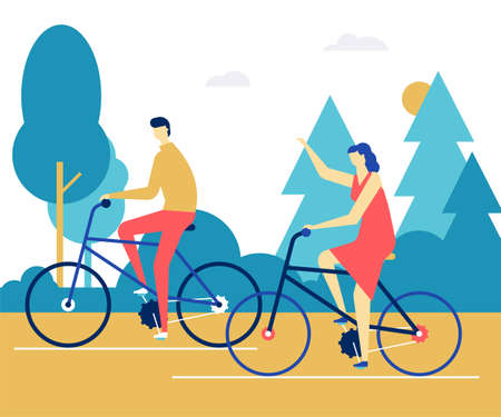 Couple cycling - flat design style colorful illustration. High quality composition with male, female characters, boy and girl riding bicycles talking, images of trees. Healthy lifestyle concept