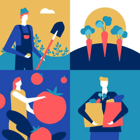 Organic food - flat design style colorful illustration. A composition with male, female characters, farmer with a spade, woman holding a tomato, a boy with shopping bags full of vegetables, carrots Ilustração
