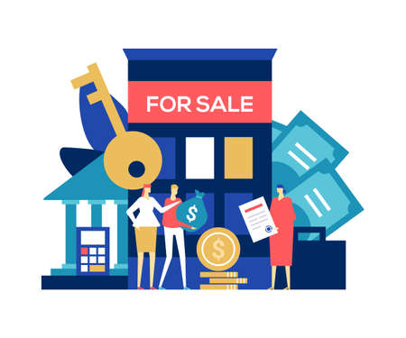 Real estate deal - colorful flat design style illustration