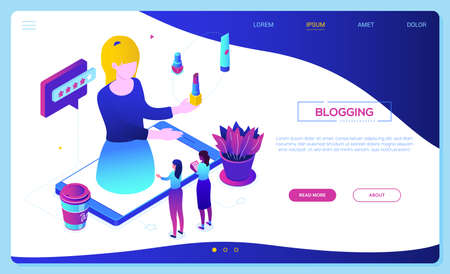 Blogging online - modern colorful isometric vector web banner