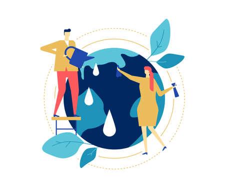Save the planet - ilustración de estilo de diseño plano colorido sobre fondo blanco. Una composición con personajes masculinos y femeninos cuidando la Tierra, regando y limpiando el globo. Concepto de ecología Ilustración de vector