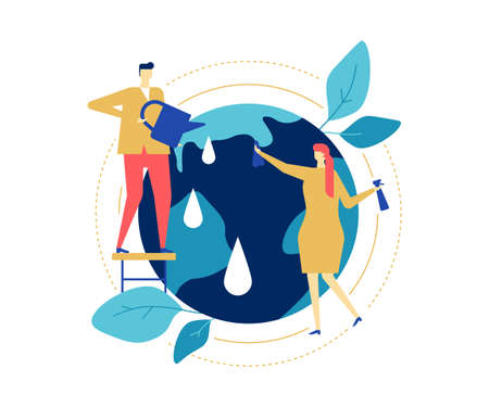 Save the planet - colorful flat design style illustration on white background. A composition with male, female characters taking care of the Earth, watering and cleaning the globe. Ecology concept