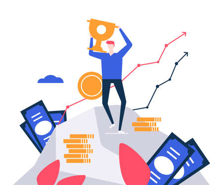 Business success - colorful flat design style illustration on white background. A composition with a male character, businessman standing on mountain, holding a trophy. Motivation, finance concept