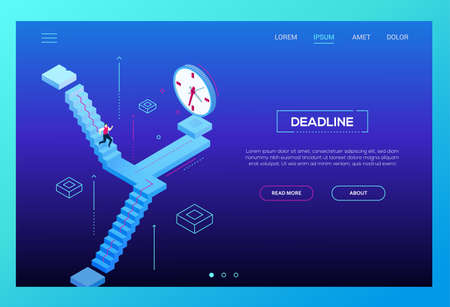 Deadline concept - modern isometric vector website header