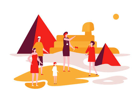 Travel to Egypt - colorful flat design style illustration on white background. Unusual composition with a group of tourists watching pyramids, sphinx, listening to the guide. Vacation concept