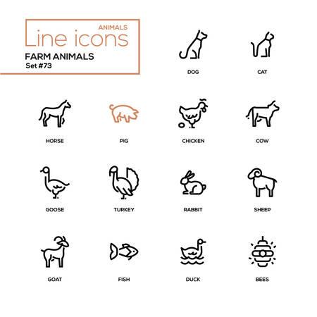 농장 동물-라인 디자인 스타일 아이콘을 설정합니다. 고품질 검은색 픽토그램. 개, 고양이, 말, 돼지, 닭, 소, 거위, 칠면조, 토끼, 양, 염소, 물고기, 오리, 벌
