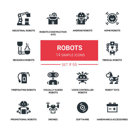 Robots concept - line design style icons set Stockfoto - 118853242