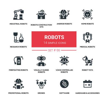 Robots concept - line design style icons set Illustration