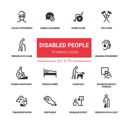Disabled people - line design silhouette icons set. Wheelchair, crutches, person with cane, speech disorder, visual, hearing impairment, in bed, guide dog, parking, transportation, prothesis, cast Illustration
