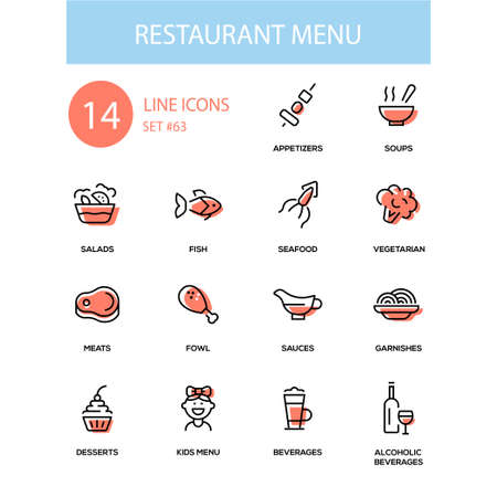 Restaurant menu - line design icons set. High quality black images. Appetizers, soups, salad, seafood, fish, vegetarian, meat, fowl, sauce, garnishes, desserts, for kids, soft, alcoholic beverages