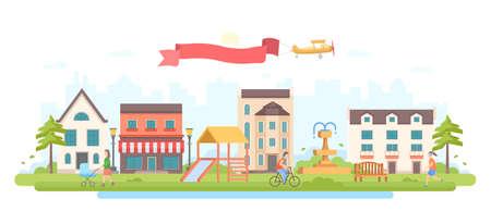 Parc de la ville - illustration vectorielle de style design plat moderne sur fond blanc. Une image d'une zone de loisirs avec de petits bâtiments, des arbres, un café, une aire de jeux avec un toboggan, une fontaine, des lanternes, des personnes actives