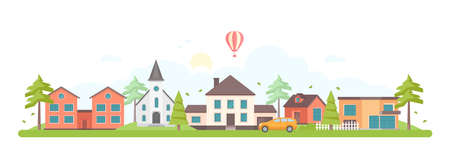 Town landscape - modern flat design style vector illustration on white background. A composition with lovely housing complex with small buildings, a church, trees, a car, hot air balloon in the sky Stockfoto - 124765476