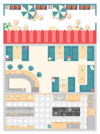 Cafe interior elements - modern vector colorful illustration of the interior. High quality top view position of kitchen, hall, bar counter and summer terrace with umbrellas and tables
