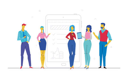 Team work - flat design style colorful illustration on white background. A composition with office workers or businessmen standing together, checking their gadgets. Linear image of a smartphone