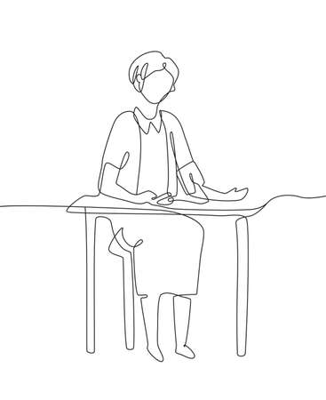 Woman measures blood pressure - one line design style illustration isolated on white background. A person sitting at the table with a tonograph. Medical, healthcare concept