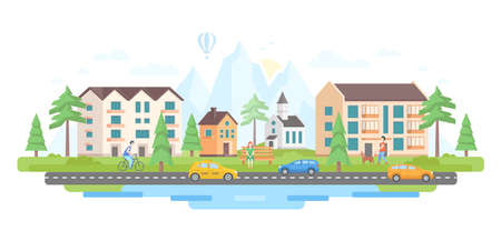 City by the mountains - modern flat design style vector illustration with hills silhouettes on white background. An image of residential area, buildings, cars on the road, church, pond, people, trees Archivio Fotografico - 124765481