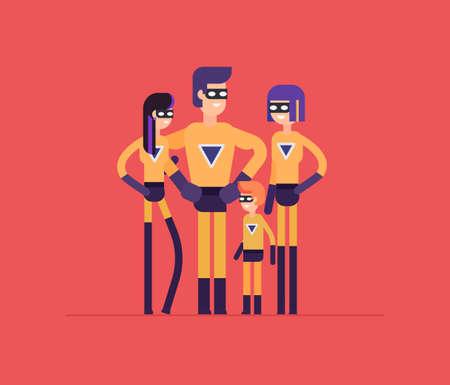 Superheroes family - modern flat design style isolated illustration