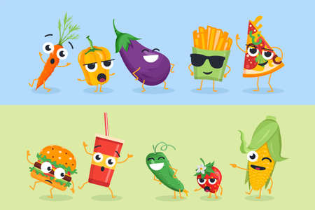 Funny vegetables and fast food - set of vector characters illustrations on white and yellow background. Cute emoji of healthy and unhealthy food. High quality collection of cartoon emoticons Ilustração