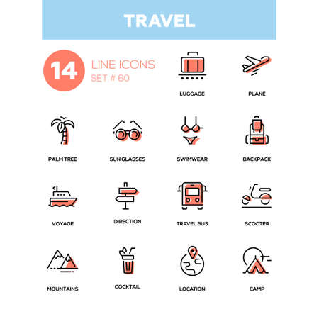 Travel - line design style icons set. Red colored high quality images of cocktail, palm tree, plane, sunglasses, luggage, swimwear, backpack, voyage, direction, bus, scooter, mountains, location, camp