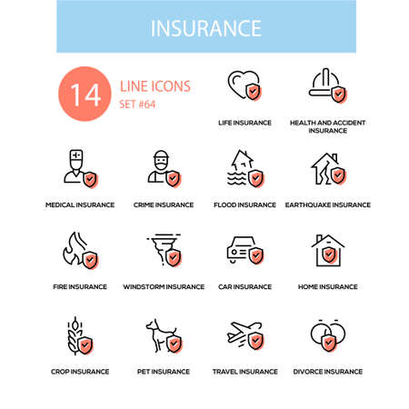 Insurance concept - line design style icons set. Life, health and accident, medical, crime, flood, earthquake, fie, windstorm, car, home, crop, pet, travel, divorce types. High quality black pictograms