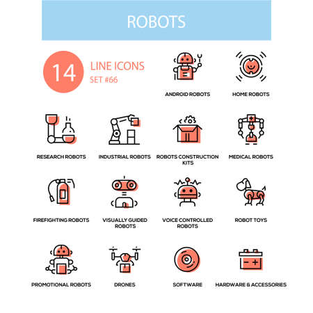 Robots concept - line design style icons set Stock Illustratie