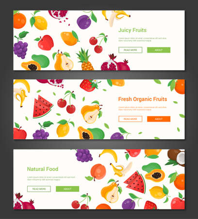 Natural food - set of modern colorful vector illustrations with place for your text. A collection of three high quality banners with images of different fruits, banana, watermelon, cherry, apple