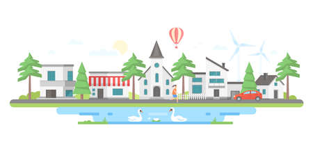 Landscape with a pond - modern flat design style vector illustration on white background. A composition with small buildings, a church, trees, windmills, car on the road, a girl, hot air balloon