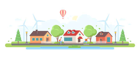 Countryside - modern flat design style vector illustration on white background. A composition with lovely houses, trees, windmills, lanterns, pond, skater and cycling boy, hot air balloon in the sky