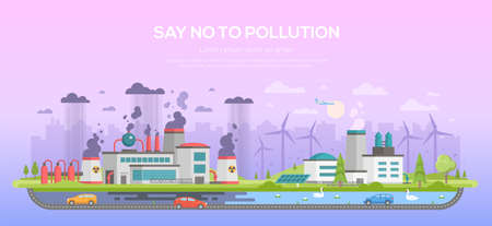 Say no to pollution - modern flat design style vector illustration