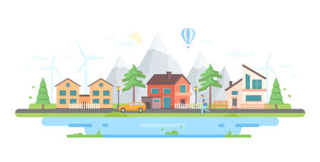Town by the hills - modern flat design style vector illustration on white background. A composition with small buildings, mountains, windmills, a boy running, a car on the road, hot air balloon, pond