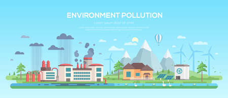 Environment pollution - modern flat design style vector illustration on blue background. A plant making hazardous substances emissions and clean area with windmills, solar panels, pond, hills