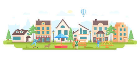 Urban district - modern flat design style vector illustration on white background. Lovely housing complex with small buildings, cafe, lanterns, nice playground, skater boy, woman sitting on a bench