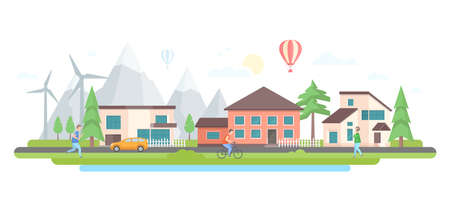 Landscape with hills - modern flat design style vector illustration on white background. Lovely housing complex with small buildings, trees, mountains, windmills, car on the road, hot air balloon
