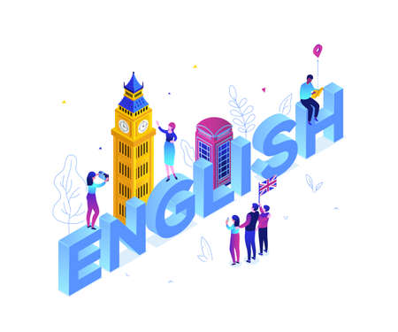English language - modern colorful isometric vector illustration on white background. A composition with Big Ben, phone booth, tourists with a map, flag of the UK, taking pictures. Education concept Ilustração