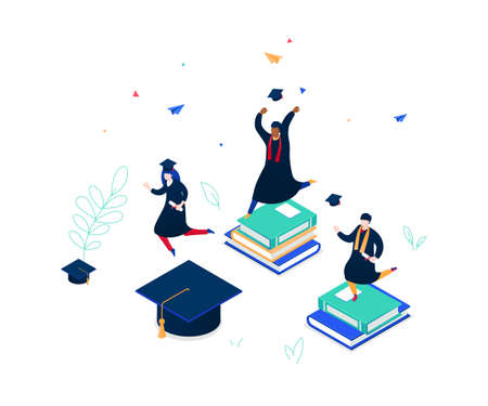 Graduation concept - modern colorful isometric vector illustration on white background. A composition with international students in academic caps and mantles, celebrating, holding diplomas, jumping Illustration