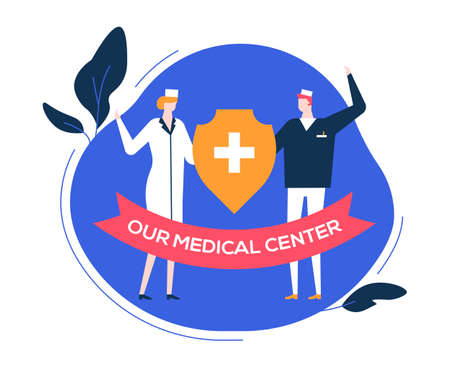 Our medical center - colorful flat design style illustration on white background. Composition with doctors, physicians in overall, male, female specialists holding medicine symbol. Healthcare concept Ilustração