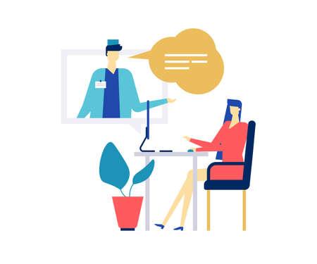 Medicina digital - Ilustración de estilo de diseño plano colorido sobre fondo blanco. Una composición con un médico varón, practicante en general que consulta a una mujer en línea a través de la computadora, utilizando el servicio, charlando