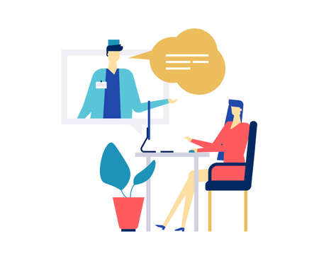 Digital medicine - colorful flat design style illustration on white background. A composition with male doctor, practitioner in overall consulting a woman online via computer, using service, chatting