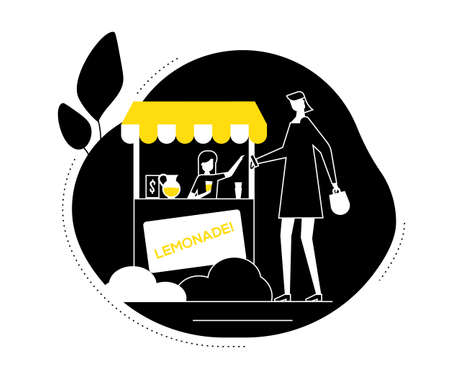 Street food - flat design style vector illustration. Black, white and yellow composition with a woman buying soda, lemonade at outdoor stand. Recreation, entertainment, summertime concept