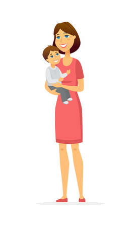 Mother and son - cartoon people characters illustration isolated on white background. A composition with young smiling woman, parent holding the cute kid in her arms. Happy family, childhood concept Illustration