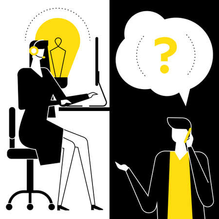 Technical support - flat design style vector illustration. Black, yellow and white composition with a female call center operator in a headset talking with a customer asking questions by smartphone